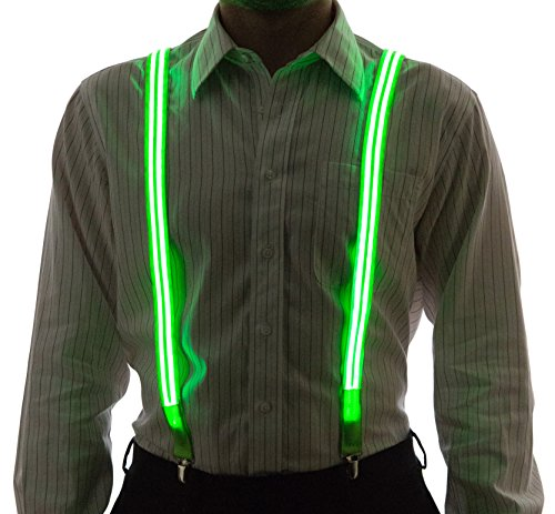 Neon Nightlife Men's Light Up LED Suspenders, Stripe, Extra Bright, One Size, Green