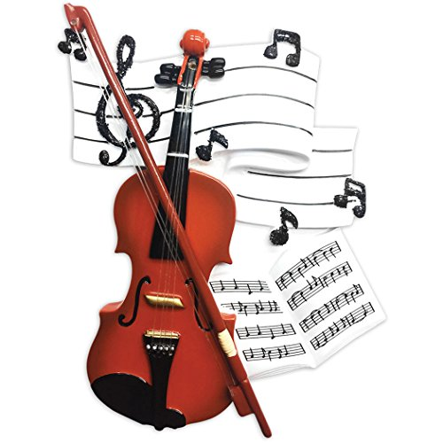 Personalized Orchestra Christmas Tree Ornament 2019 - Wooden Violin Music Note Strings Treble Clef Fiddle Violinist Performs Recital Instrument Hobby Profession Teacher Year - Free Customization