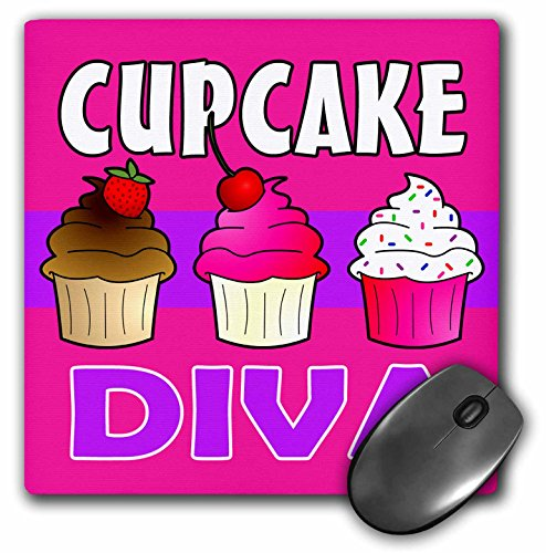 Price comparison product image 3dRose LLC 8 x 8 x 0.25 Inches Mouse Pad, Cupcake Diva Kawaii Cakes Pink (mp_43133_1)