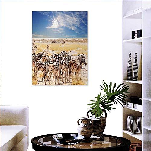 Calientes pegatinas de arte africano con diseño de jirafas en los bustos, la superficie del lago Horizon en el medio en...