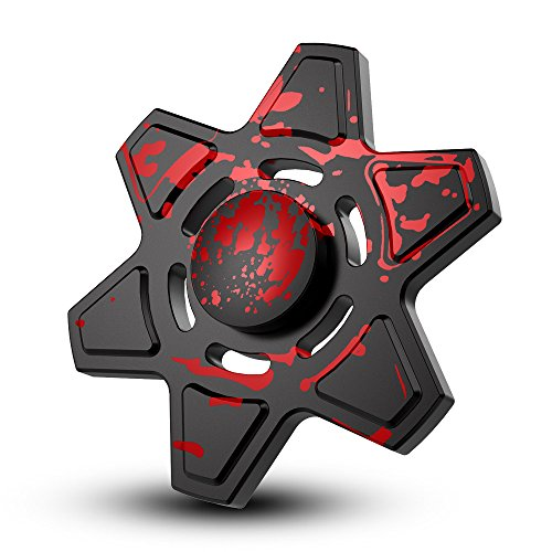 Hand Fidget Spinner EDC ADHD Focus Toy Fingertip Spinner Fidget Metal Colorful Stress Reducer and Perfect For OCD, ADD ,Finger Toy Fidget Work Ultra Fast Bearings (Black+Red)