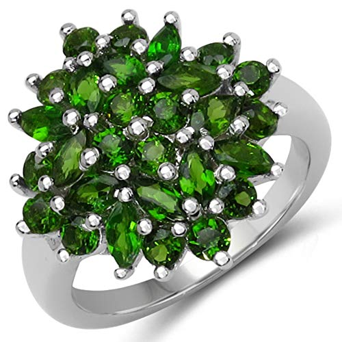 - Bonyak Jewelry Genuine Marquise Chrome Diopside Ring in Sterling Silver - Size 7.00