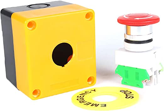Sydien 2Pcs 22mm Mount Red Sign Mushroom Emergency Stop Station Trun to Release Push Button Switch Weatherproof with Box 600V 10A