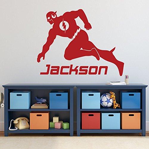 - The Flash Superhero Decorations - Personalized DC Comics Figure Icon Vinyl Wall Decor for Boy's Playroom, Bedroom, or Gameroom - Baby Nursery Design