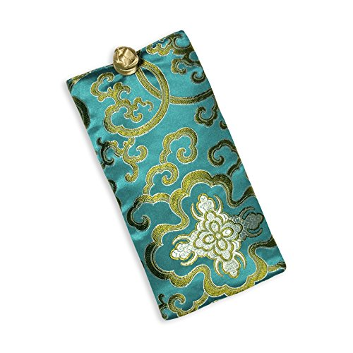 Eyeglass Pouch - Silk Brocade (Lotus Marine)