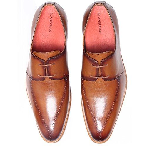 ELANROMAN Herren SchnürHalbschuhe Leder Derby Schuhe