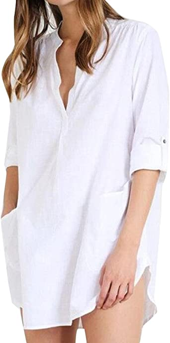 zolimx Camiseta de algodón para mujer, mujer blanca camiseta, Summer Casual, Fashion Camisa Traje Bikini Trajes de baño playa sexy traje de baño delantal: Amazon.es: Iluminación