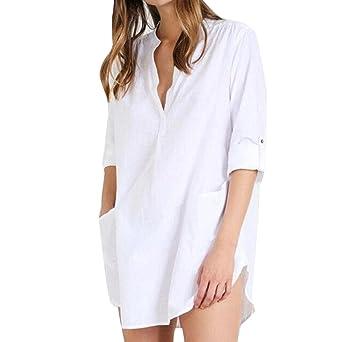 zolimx Camiseta de algodón para mujer, mujer blanca camiseta ...