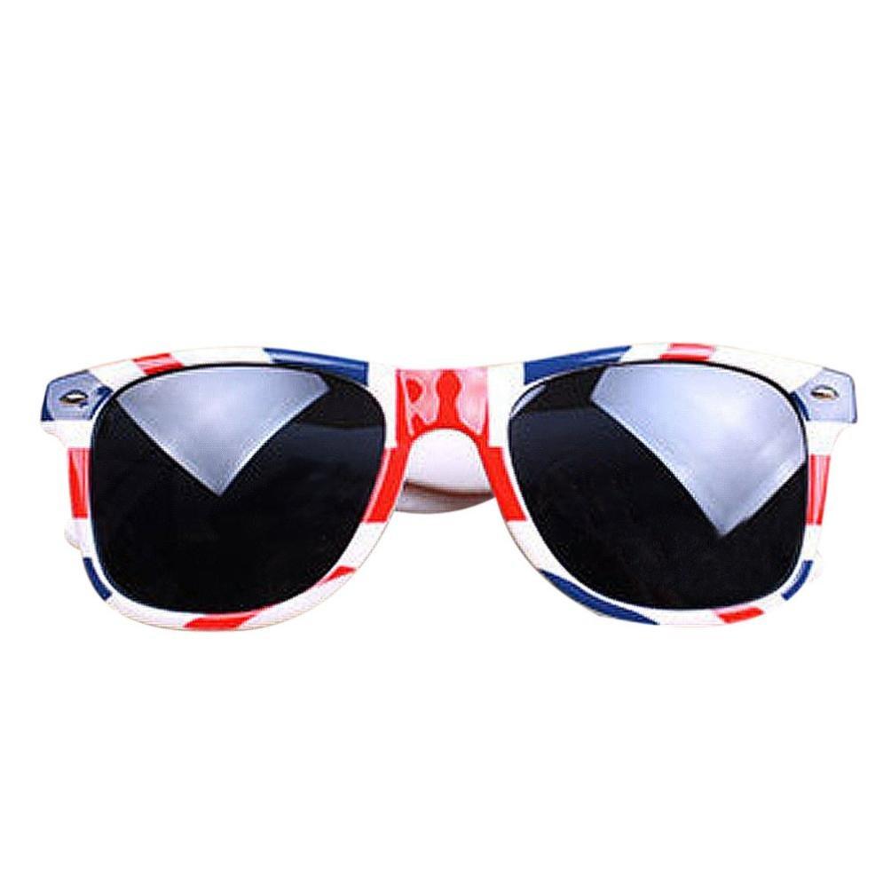 Sumen Unisex Sunglasses Plastic Frame Glasses Vintage Square New Style Sunglasses American Flag (B-UK Flag)