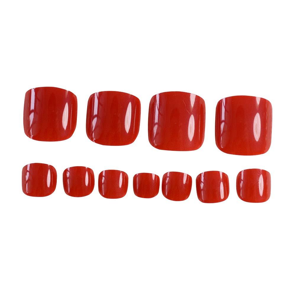 24pcs French Red Fake Toenails Short False Toenails Sqaure Full Toeanail Tips Feet Nails Decals by Wangmeili