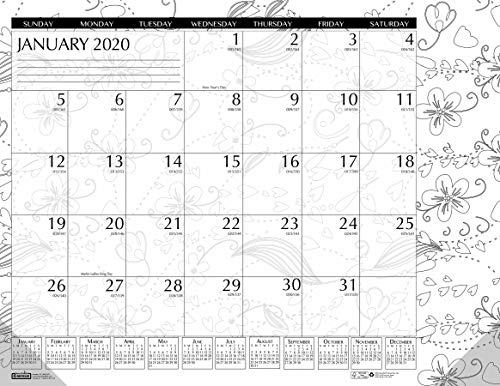 House of Doolittle 2020 Monthly Desk Pad Calendar, Doodle Black and White, 18.5 x 13 Inches, January - December (HOD1876-20)