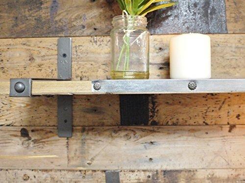 Set de dos dos dos estanterías de madera para pared de estilo industrial urbano, con soportes de metal 94df5c