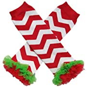 Chiffon Ruffle Tutu Christmas Holiday Winter Styles Leg Warmers - One Size - Baby, Toddler, Girl (Chiffon Chevron Red with Red & Green)