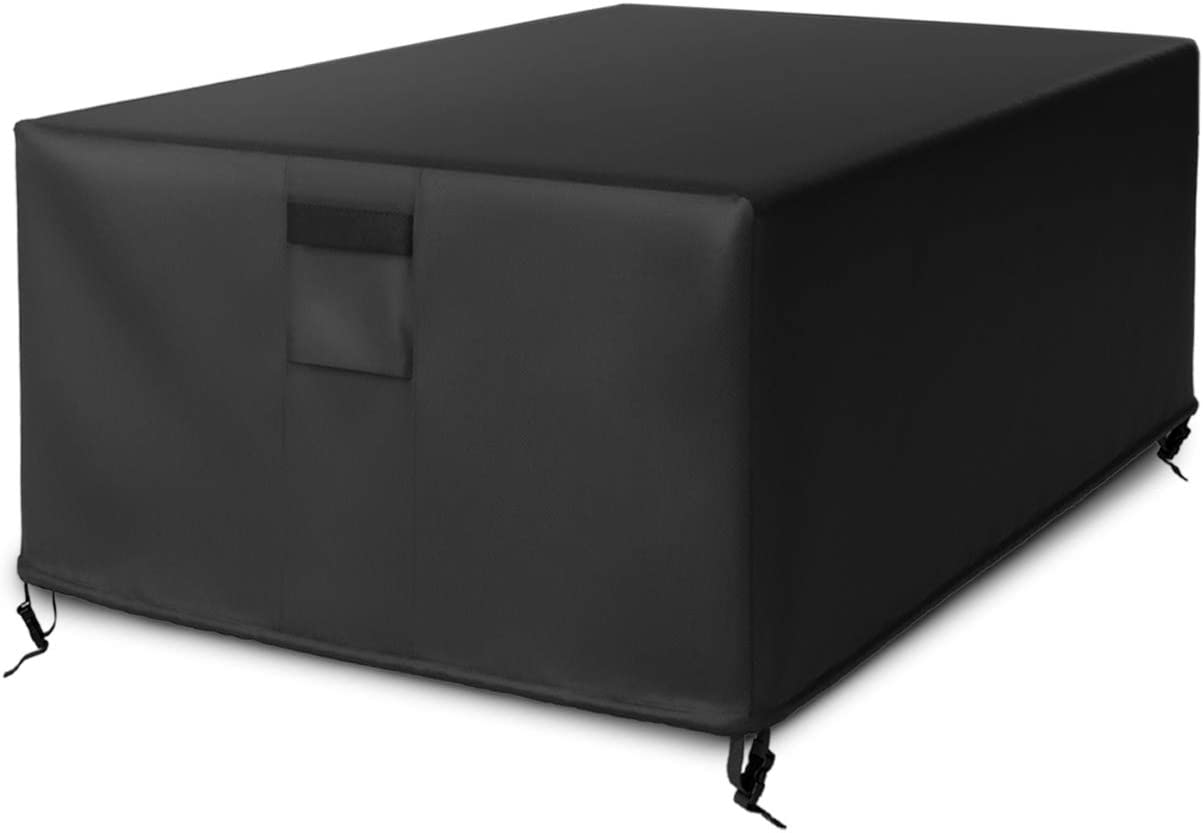 SHINESTAR 56 Inch Rectangular Fire Pit Cover for Outdoor Gas Fire Pit Table, Waterproof & Thichened PVC Material - 56 L x 38 W x 22 H, Black: Kitchen & Dining
