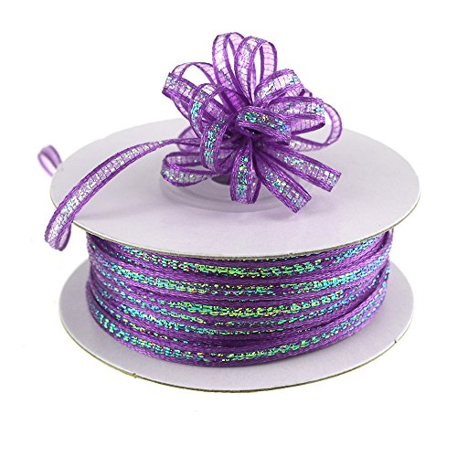 Homeford Firefly Imports Iridescent Pull String Bows Ribbon, 1/8-Inch, 50 Yards, Purple, -