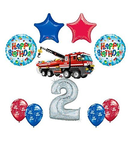 10 pc LEGO CITY Fire Engine Firetruck 2nd Birthday Fire Truck Party Balloon Decorating Supply Kit]()