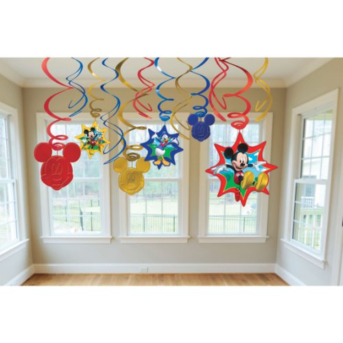 (American Greetings Mickey Mouse Party Supplies Hanging Swirl Decorations,)