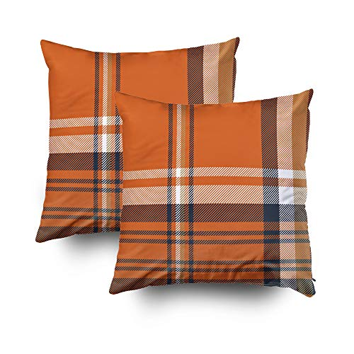 GROOTEY Decorative Cotton Square Set of 2 Pillow Case Covers with Zippered Closing for Home Sofa Decor Size 18X18Inch Costom Pillowcse Throw Cover Cushion,Orange Check Plaid Pattern