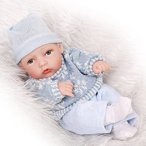 SanyDoll Lifelike Reborn New Baby Alive Washable Full Silicone Doll Toys Gift Boy 11inch 25cm