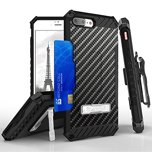 Apple iPhone 8 Plus Case - [Carbon Fiber] [Tri-Shield] Dual Layer Shock Absorption Protection [Military Grade Certified] [Card Slot and Kickstand] Rugged Cover and Belt Clip Holster, Atom LED
