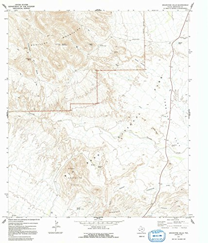 YellowMaps Grapevine Hills TX topo map, 1:24000 Scale, 7.5 X 7.5 Minute, Historical, 1971, Updated 1991, 27.1 x 23.2 in - Tyvek