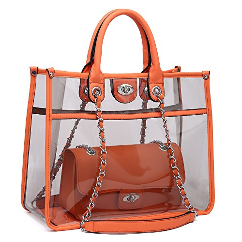 Pvc Fashion Bag - Large Clear Tote Bag PVC Top Handle Shoulder Bag 2 Pieces Set With Turn Lock Closure (Orange)