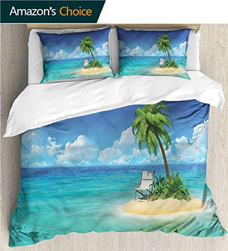 - VROSELV-HOME Style 3D Digital Print Bedding Sets,Box Stitched,Soft,Breathable,Hypoallergenic,Fade Resistant Print Duvet Cover Sets Soft Microfiber 3Pcs Quilt Cover-Coastal Small Island Chair and Palm