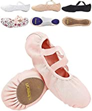 s.lemon Stretch Canvas Pink White Black Ballet Dance Shoes Slippers Flats for Girls in Different Size