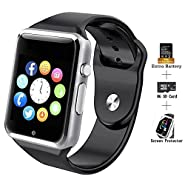 COSROLE Bluetooth Smart Watch, A1 Touch Screen Smart Wrist Watch with 8GB SD Card & Two Batteries & Screen Protector for iPhone Samsung Xiaomi Huawei Sony HTC LG Android Smartphones