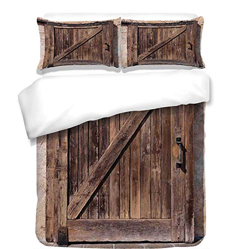Copper Rustic Headboard - 3Pcs Duvet Cover Set,Rustic Decor,Aged Sliding Door with Rustic Texture Authentic Vintage Architectural Rural Decorative Print,Brown,Best Bedding Gifts for Family/Friends