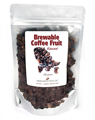 Cascara Brewable Coffee Fruit (4 ounces) 1 All natural coffee fruit, sun-dried, brew with hot water or cold brew Great for making coffee cascara latte and espresso drinks Add to espressos for amazing taste