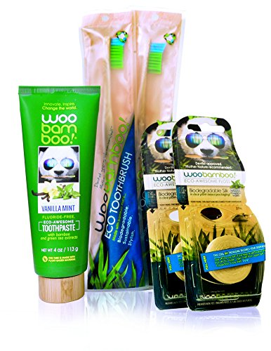 Woobamboo! Eco-Friendly Bundle: 2 Bamboo Adult Toothbrushes, 2 Biodegradable Silk Floss in Plant-Based Packaging Flosses, 1 Vanilla Mint Toothpaste