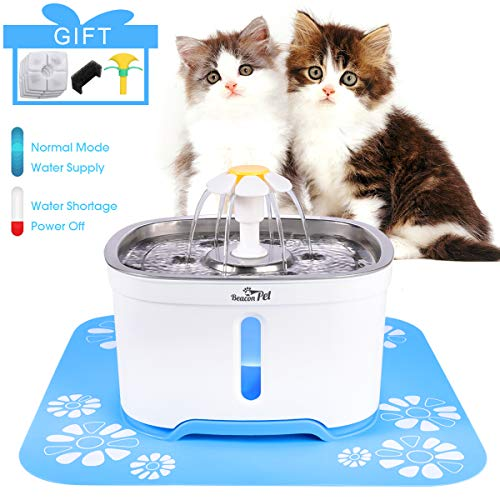 Beacon Pet Cat Water Fountain Stainless Steel, LED 81oz/2.4L Automatic Pet Fountain Dog Water Dispenser with 4 Replacement Filters & 1 Silicone Mat for Cats Dogs Multiple Pets
