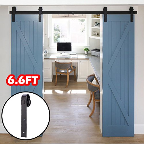 Artist Hand 6.6 FT Sliding Barn Door Track Rail for Double Door Hinged Style Sliding Track Hardware Kit-Classic Strap