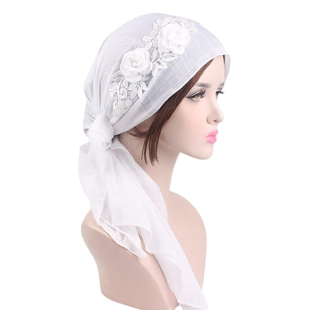 Black Hot Sale Solid Color Floral Lace Splice Retro Head Wrap Scarf Stretch Hair Scarf Bandana Turban Tie Sleep Hair Cover Hat for Cancer Patients Chemo