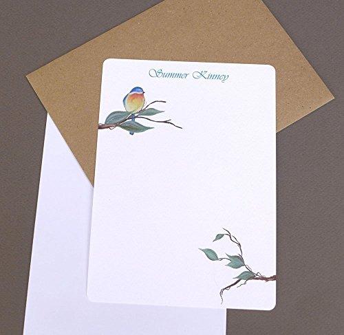 Bluebird Complete Women's Flat Note Card Set With Envelopes, Custom Monogrammed Girl's Stationery, Monogram Garden Correspondence ()
