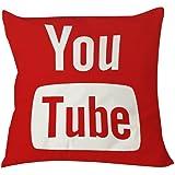 1willloanestore Youtube Icône médias sociaux Taie d'oreiller 18x 18x 18x 18x 18Creative Fashion Carré en Lin/Coton Couvre-lit décoratif taie d'oreiller