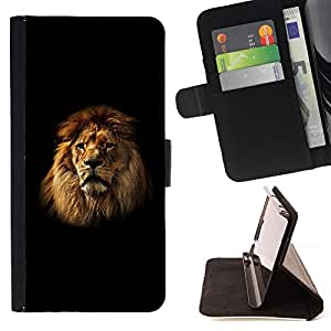 DEVIL CASE - FOR Samsung Galaxy S5 V SM-G900 - Lion Mane Black Minimalist Powerful - Style PU Leather Case Wallet Flip Stand Flap Closure Cover