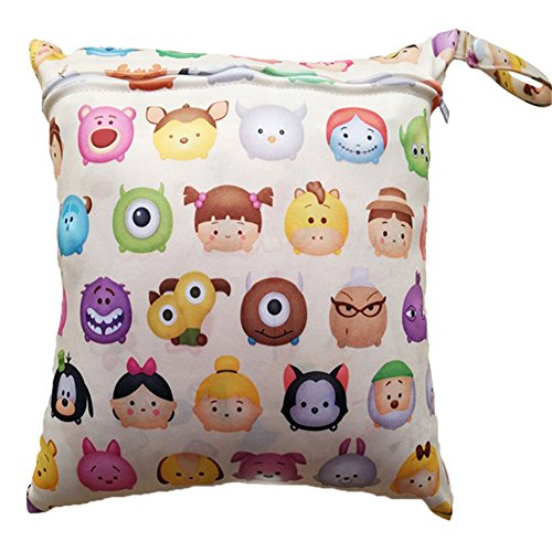 LALANG Waterproof Reusable Zipper Baby Cloth Diaper Wet Dry Bag Stroller Organizer with Cartoon, Zoo, Animal Design (colorful Cartoon)