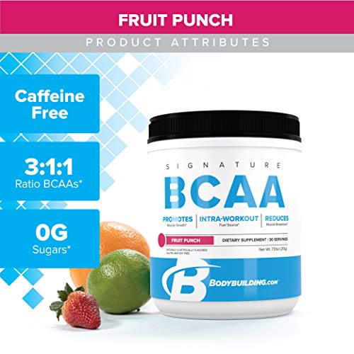 Bodybuilding Signature BCAA Powder | Essential Amino Acids | Nutrition Supplement | Promote Muscle Growth and Recovery | 30 Servings, Fruit Punch (Best Amino Acids For Muscle Growth)