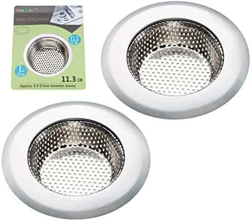 Fengbao 2PCS Kitchen Sink Strainer - Stainless Steel, Large Wide Rim 4.5