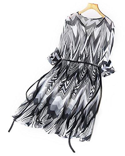UAISI2018 Women 100% Mulberry Silk Mid Long Dress Casual Summer Print Skirt (M, Black) by UAISI