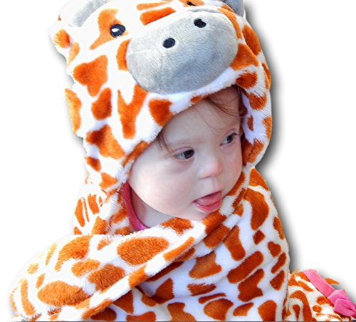 Soft Baby Blanket for Boy or Girl. Plush Microfiber Fleece in Animal Design. Fab Shower Gift! Great Toddler Blankie, Binky and Cape or Warm and Cozy Stroller Blanket or Infant Wrap. 30x36 + Hood ()