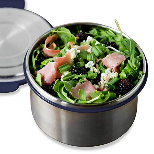 LunchBots Salad Bowl Lunch Container - 6 Cup - Leak Proof Lid - Stainless Steel Inside - Not Insulated - BPA Free, Dishwasher Safe - Navy - 6 cup