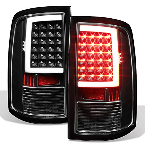 Ram 1500 10-18 2500/3500 Black LED Tube Tail Lights Lamps Pair (Driver+Passenger) Side ()
