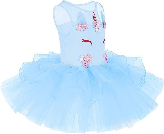 OBEEII Vestito da Balletto Body tut/ù Senza Maniche Danza Ginnastica Leotard con Tulle Gonna