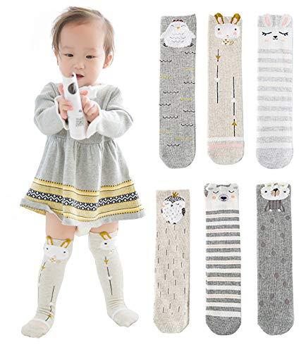 Unisex Baby Socks Toddler Girl Knee High Socks Leg Warmers Animal Cotton Socks 1-7 Yrs (Pack of 6 Pairs) (Socks Knee For Girls Baby)