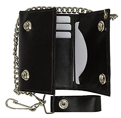 BLACK GENUINE LEATHER Trifold Biker's Wallet ID Card Holder w/ Chain Skull