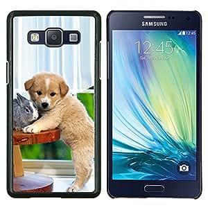 Conejo perro del labrador retriever Cachorro- Metal de aluminio y de plástico duro Caja del teléfono - Negro - Samsung Galaxy A5 / SM-A500