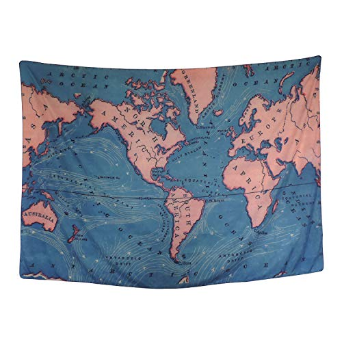 World Map Tapestry Geography Ocean Current Educational Retro Art Tapestry Wall Hanging for Room Dorm Home Decor (Money Photo Charm)
